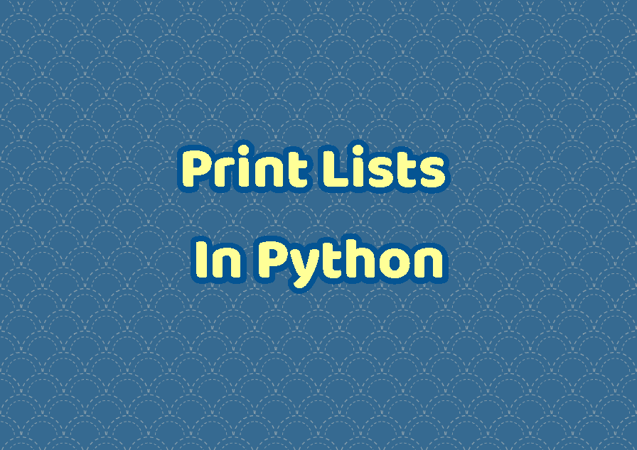 Print Lists In Python